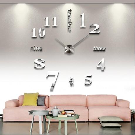 Белые акриловые часы самоклейка на стену