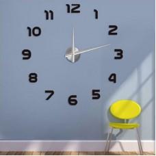 Черные часы самоклейка на стену