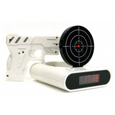 Будильник с мишенью и лазерным пистолетом.