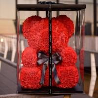 Мишка из 3D роз 25 см в подарочной упаковке