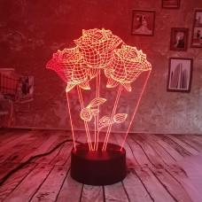 Светильник 3D Розы 3 шт