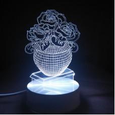 Светильник 3D Ваза с цветами